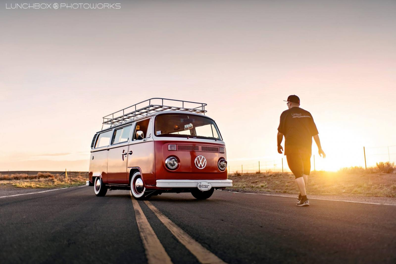 17 VW Busses at Sunset